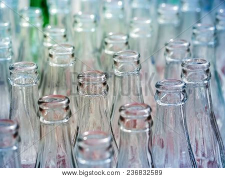 Used Glass Bottles. Close Up And Selective Focus, Recyclable Object Image.