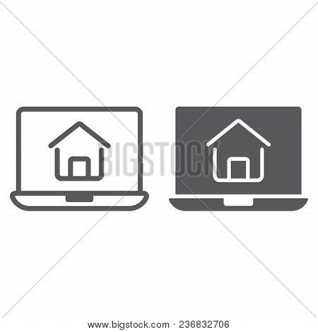Online House Shopping Line And Glyph Icon, Real Estate And Home, Search Sign Vector Graphics, A Line