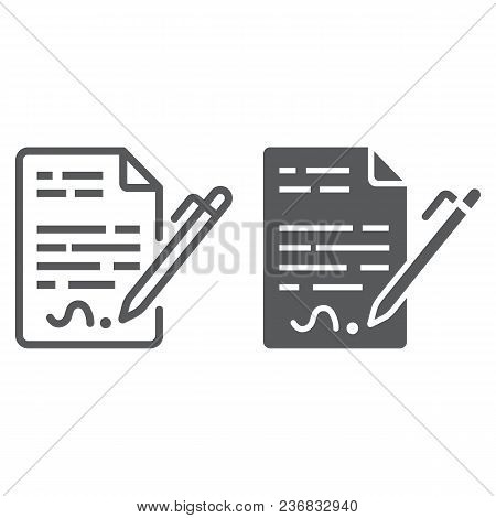 Contract Line And Glyph Icon, Agreement And Signature, Deal Sign Vector Graphics, A Linear Pattern O