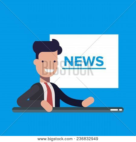 Television News Announcer On Background Tv Breaking News. Flat Vector Illustration In Cartoon Style