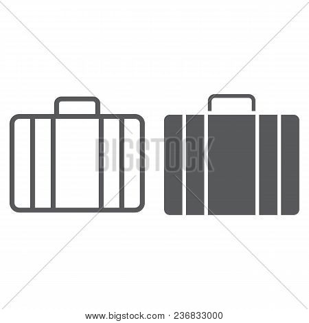 Baggage Line And Glyph Icon, Briedfcase And Luggage, Bag Sign Vector Graphics, A Linear Pattern On A