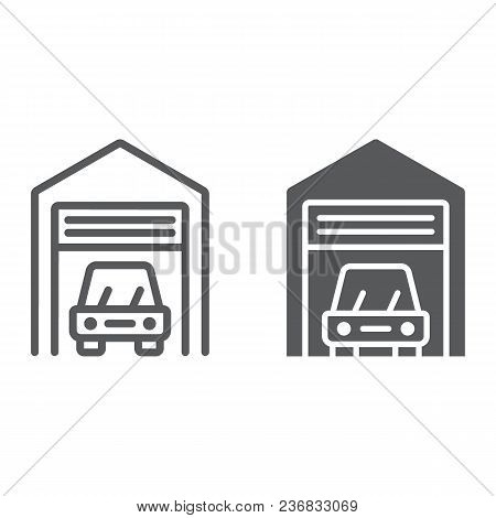 Car Garage Line And Glyph Icon, Automobile And Home, Real Estate Sign Vector Graphics, A Linear Patt