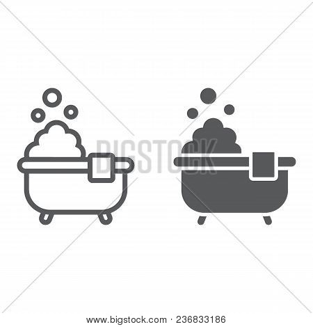 Bath Line And Glyph Icon, Real Estate And Home, Shower Sign Vector Graphics, A Linear Pattern On A W