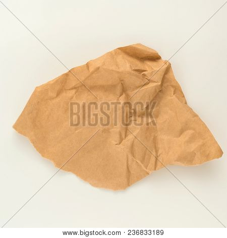 Brown Wrinkle Recycle Paper Isolated On White Background