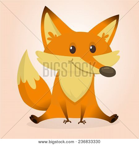 Cute Baby Fox. Vector Illustration Isolated. Character Design