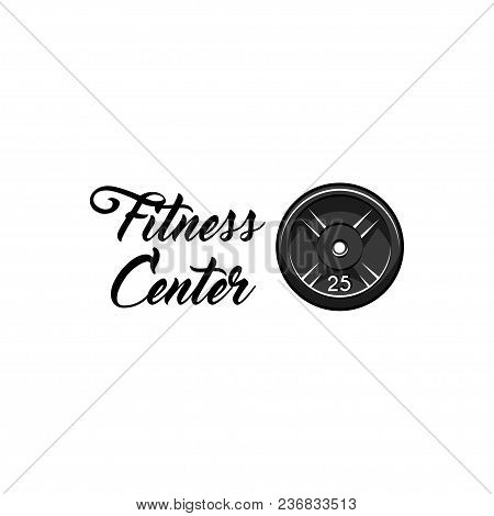Weightlifting, Powerlifting Plate Icon. Fitness Center Emblem Logo Label. Barbell Disk Badge. Sport
