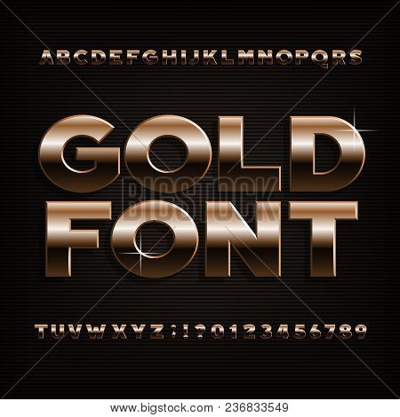 Gold Effect Alphabet Font. Bold Metalic Letters, Numbers And Symbols. Stock Vector Typeface For Your