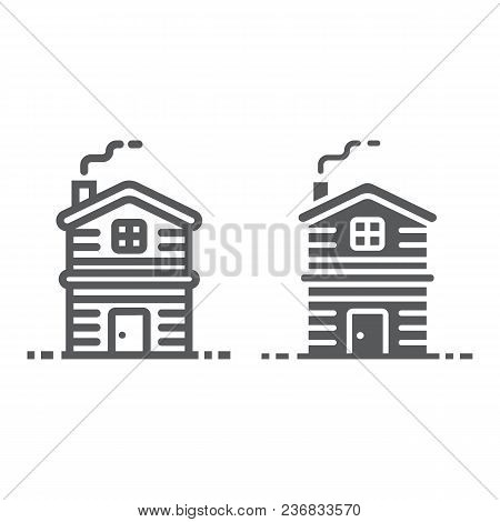 Cottage Line And Glyph Icon, Real Estate And Home, Apartment Sign Vector Graphics, A Linear Pattern