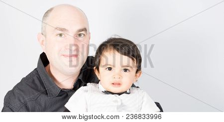 White Bald Man Father With Son Boy Child Mixed Race
