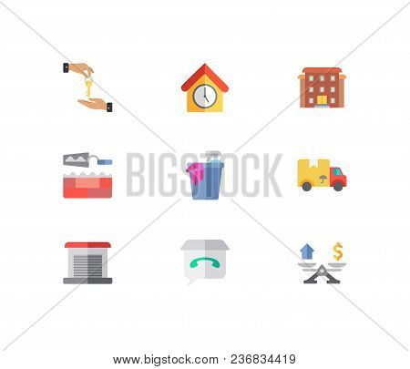 Building Icons Set. Deal And Building Icons With Leased, Cleaning Service And Move. Set Of Renovatio