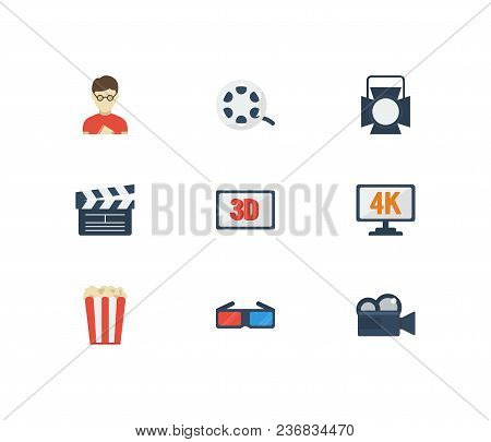 Movie Icons Set. Popcorn And Movie Icons With Cinema Open Clapper, 3d Movie And 3d Glasses. Set Of D