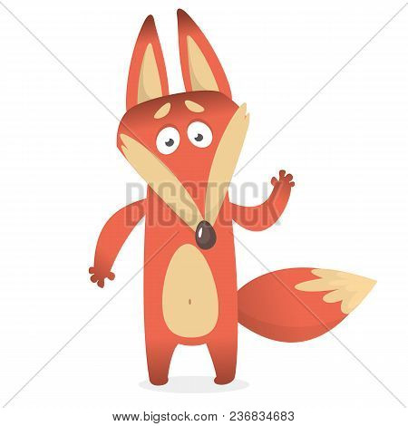 Cartoon Of Creeping Sly Fox With A Large Tail.  Vector Illustration
