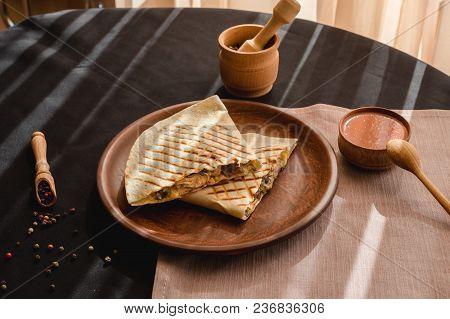 Quesadilla Mexican Food. Mexican Cuisine Quesadilla For Breakfast. Close Up