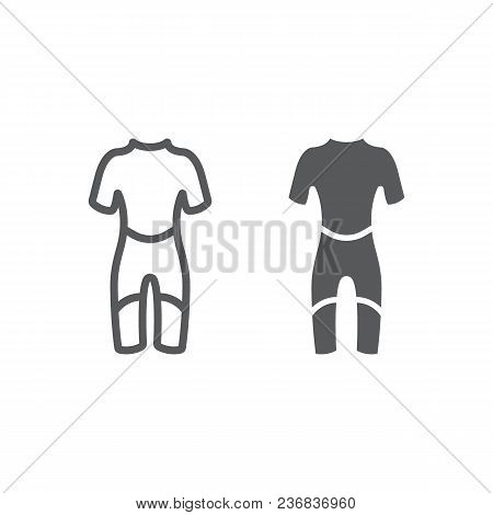 Diving Suit Line And Glyph Icon, Diving And Underwater, Scuba Suit Sign Vector Graphics, A Linear Pa