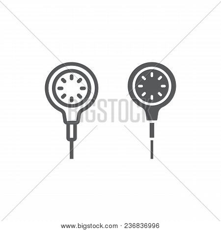 Scuba Diving Gauge Line And Glyph Icon, Diving And Underwater, Measure Sign Vector Graphics, A Linea