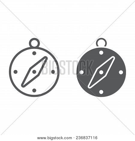 Compass Line And Glyph Icon, Navigator And Travel, Adventure Sign Vector Graphics, A Linear Pattern
