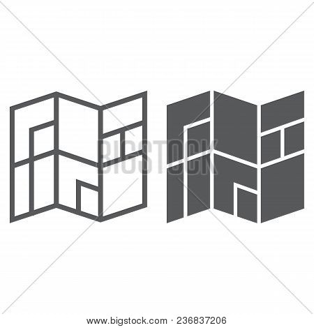 Map Line And Glyph Icon, Navigtion And Location, Place Sign Vector Graphics, A Linear Pattern On A W