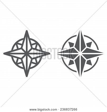 Compass Line And Glyph Icon, Navigator And Geography, Windrose Sign Vector Graphics, A Linear Patter