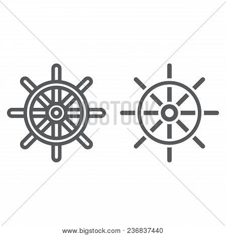 Ship Steering Wheel Line And Glyph Icon, Navigator And Geography, Travel Sign Vector Graphics, A Lin