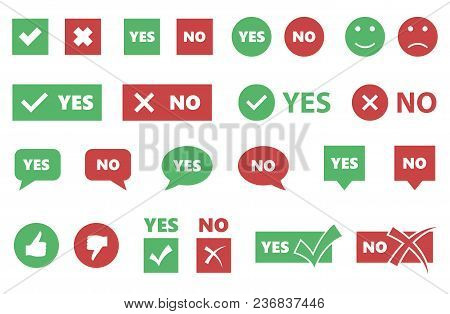 Check Box Icons, Yes Or No Signs, Tick And Cross Set