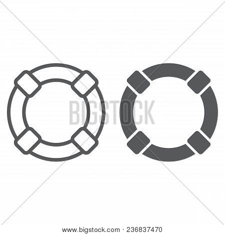 Lifebuoy Line And Glyph Icon, Sos And Lifeguard, Help Sign Vector Graphics, A Linear Pattern On A Wh