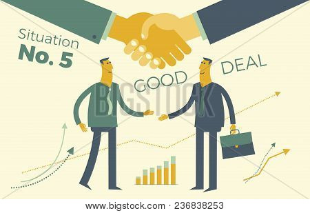 Business Infographics, Business Situations. Conclusion Of Contract, Contract. Partnerships, Meeting