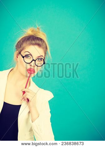 Lovely Sweet Business Woman Elegant Clothing Nerdy Glasses Holding Red Fake Lips On Stick Having Fun