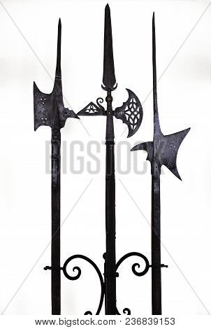 Spear Weapons Ancient Ancient Spear Medieval Over White Background Black Gray