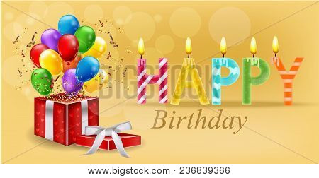Party Invitation Card With Giftbox And Balloons Vector. Happy Birthday Text. Celebrate Events Banner