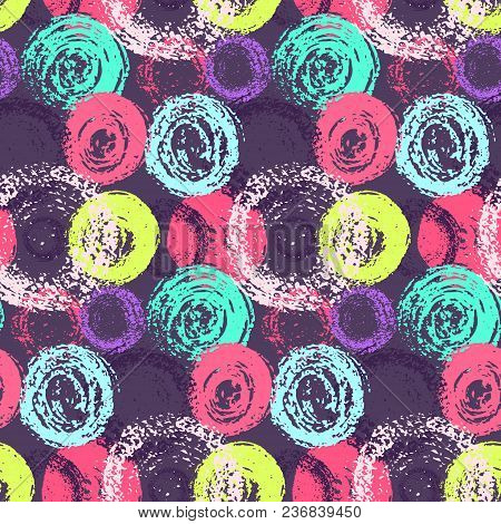 Bright Contrast Colorful Grunge Scratched Circles Seamless Pattern. Fashion Color Round Elements On