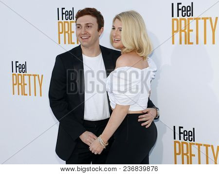 Daryl Sabara and Meghan Trainor at the Los Angeles premiere of 'I Feel Pretty' held at the Regency Village Theatre in Westwood, USA on April 17, 2018.