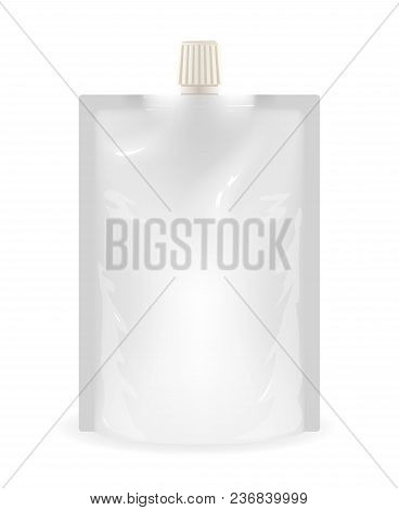 Isolated Doypack Liquid Sealed Plastic Sachet Food Bag Stand Upright Template Realistic 3d Printing