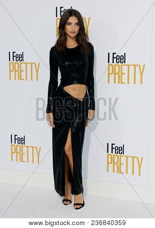Emily Ratajkowski at the Los Angeles premiere of 'I Feel Pretty' held at the Regency Village Theatre in Westwood, USA on April 17, 2018.