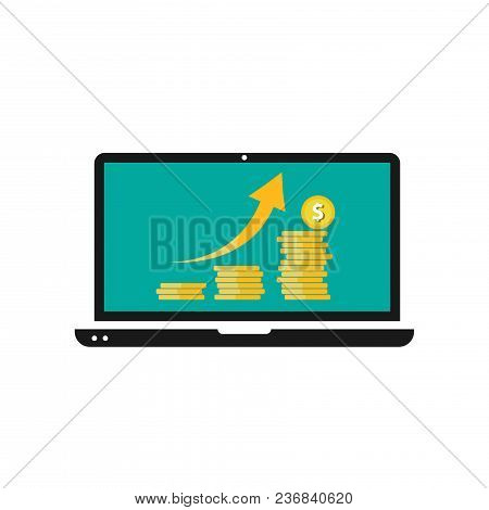 Dollars Growth Concept. Dollars Revenue Illustration. Stacks Of Gold Coins Like Income Graph With Do