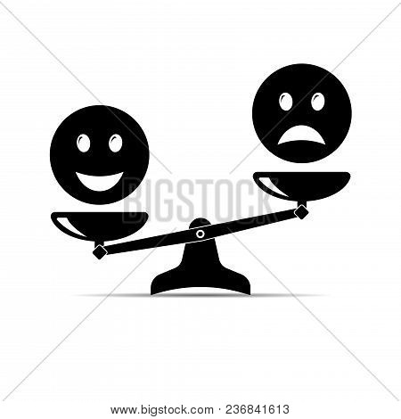Smile Emoticons Different Mood On Scales, Vector Icon. Positive Attitude As Advantage. Happiness Ver