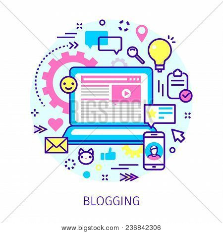 Concept Of Blogging. Open Notebook With Blog And Icons In The Style Of Line Art. Flat Design, Linear