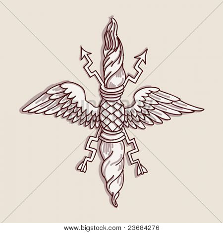 Vintage emblem - hand draw sketch doric architectural order based