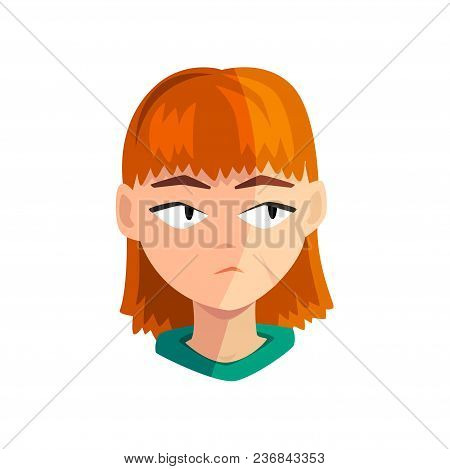 Bored Redhead Girl, Female Emotional Face, Avatar With Facial Expression Vector Illustration Isolate