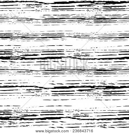 Vector Grunge Seamless Texture Of Horizontal Hand-drawn Ink Lines.