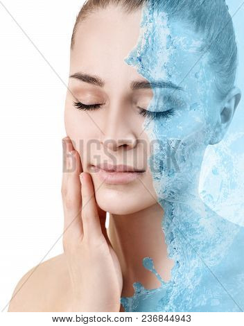 Sensual Woman Under Water Splash With Fresh Skin. Isolated On White.
