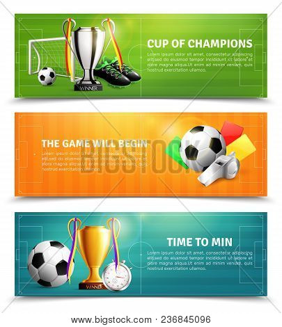 Soccer Horizontal Banners Set With Sports Equipment, Penalty Cards, Trophy Isolated On Football Fiel