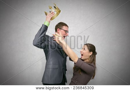Race For Power. First Place Struggle Concept. Man Took And Did Not Give The Crown To Another Woman I