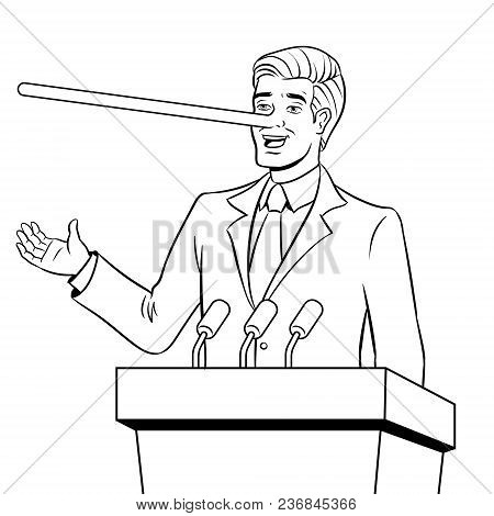 Politician With Long Nose Lies Man Coloring Retro Vector Illustration. Isolated Image On White Backg