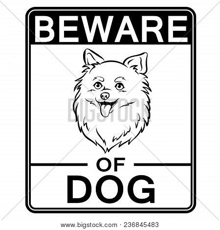 Beware Of Cute Dog Plate Coloring Retro Vector Illustration. Isolated Image On White Background. Com