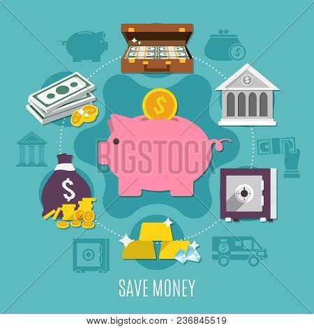 Money Colored And Flat Composition With Save Money Headline And Ways To Save Cash And Noncash Money