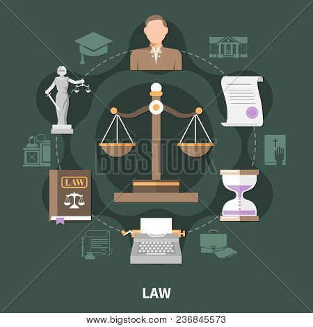 Law Round Composition Of Isolated Legal System Vintage Style Related Icons And Brief Case Silhouette