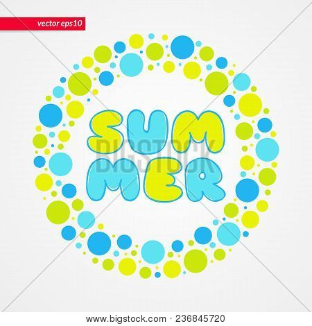 Yellow Green And Blue Bubbles Summer Vector Pattern. Circle Shape Frame Isolated Symbol. Decorative