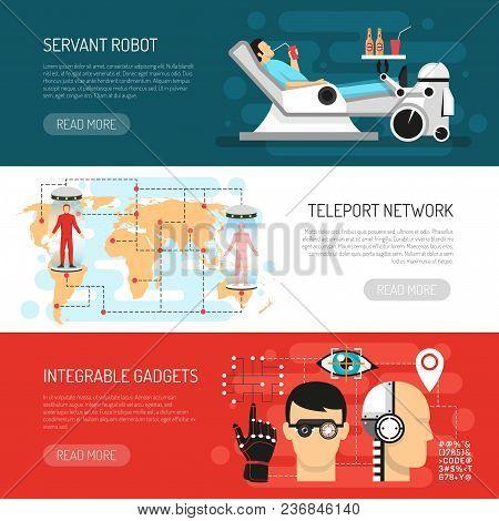 Futurology postulations flat horizontal banners website design with teleport network robotic housekeper servant and gadgets vector illustration poster