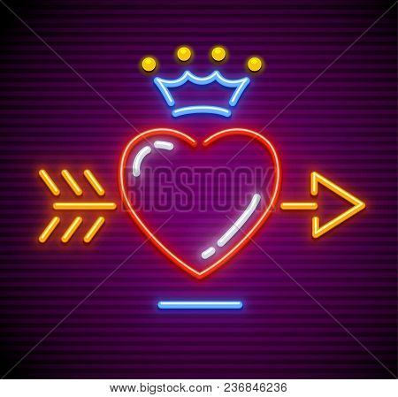 Love Heart Stricken By Gold Arrow. Neon Icon For Sign With Royal Crown. Symbol Of Love Made Of Neon