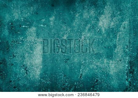Abstract Shabby Background. Old Weathered Painted Dark Turquoise Surface